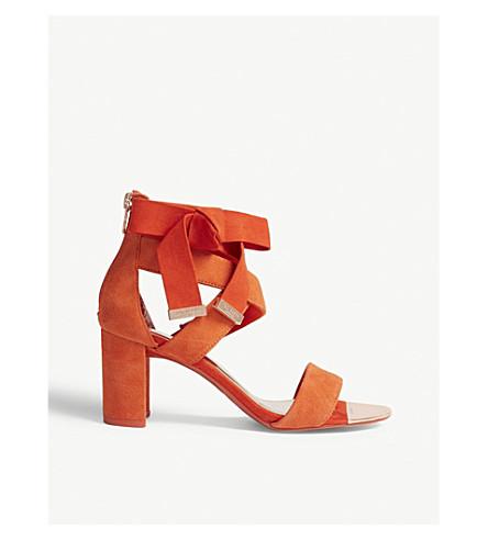 TED BAKER Noxen suede block heel sandals (Brt orange