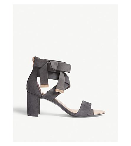 TED BAKER Noxen suede block heel sandals (Charcoal