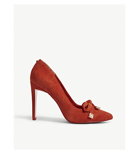 TED BAKER Gewell bow detail suede courts (Brt orange