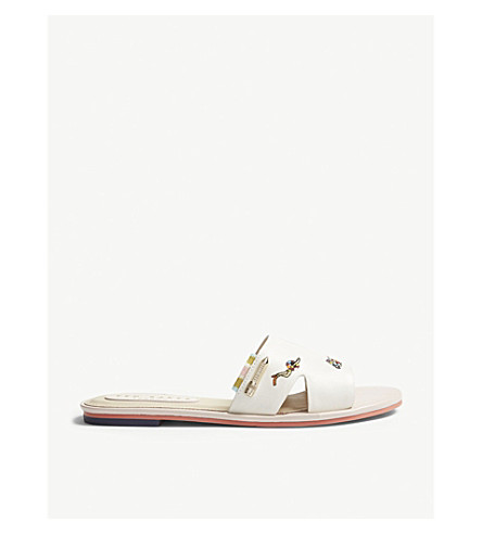 TED BAKER Mairin swimmers embroidered leather slides (Ivory