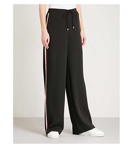 TED BAKER Side-stripe wide-leg woven jogging bottoms (Black