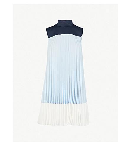 TED BAKER Elweiss 色块褶绉裙 (淡 + 蓝
