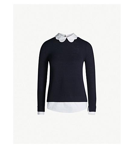 TED BAKER Bronwen 扇形领针织毛衣 (暗 + 蓝