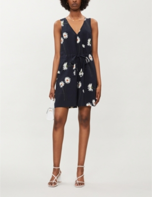 Anjie V-neck crepe playsuit
