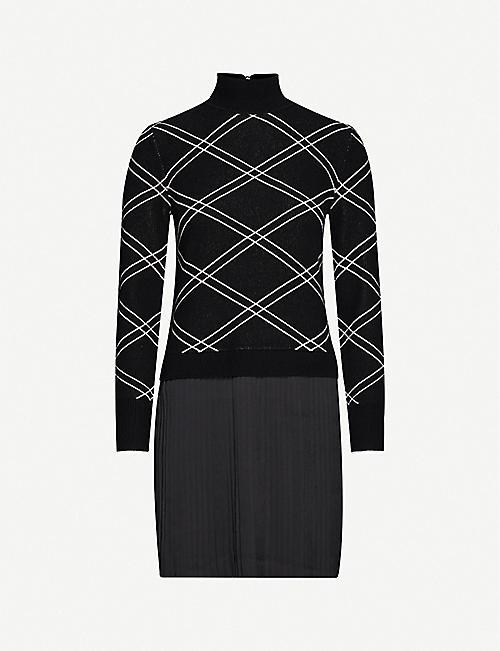TED BAKER 弗洛里可模仿格纹羊毛混纺连衣裙