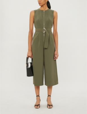 Volenti belted cropped crepe jumpsuit