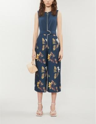 Birgiit floral crepe culotte jumpsuit
