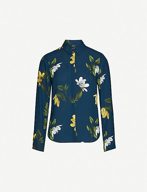 TED BAKER 稀树草原花卉褶皱衬衫