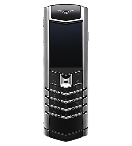 VERTU Signature stainless steel mobile phone (Ss,+black+leather