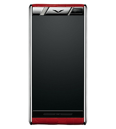 VERTU Aster diamond, leather and stainless steel mobile phone (Red