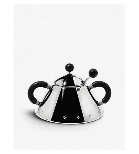 ALESSI Sugar bowl and spoon (Black