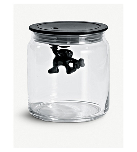 ALESSI Gianni 70cl glass container (Black