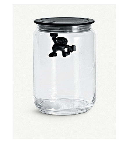 ALESSI Gianni 90cl glass container (Black