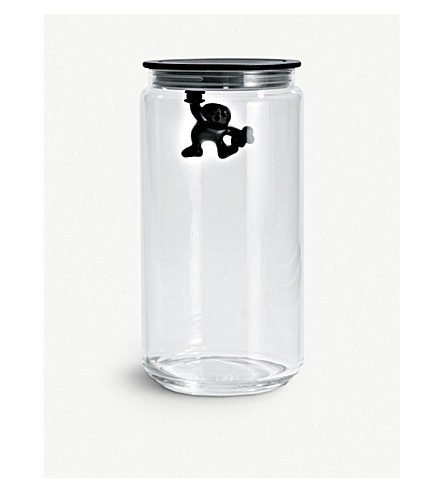 ALESSI Gianni 140cl glass container (Black