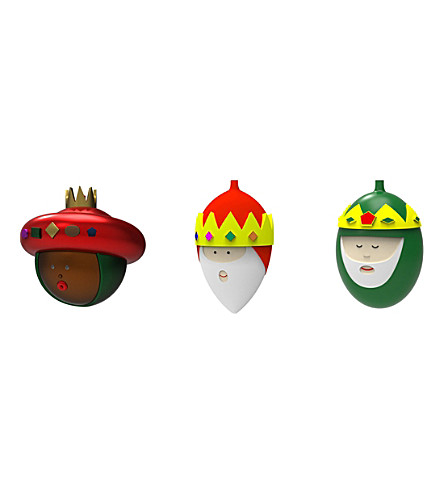 ALESSI Three-kings Christmas bauble set