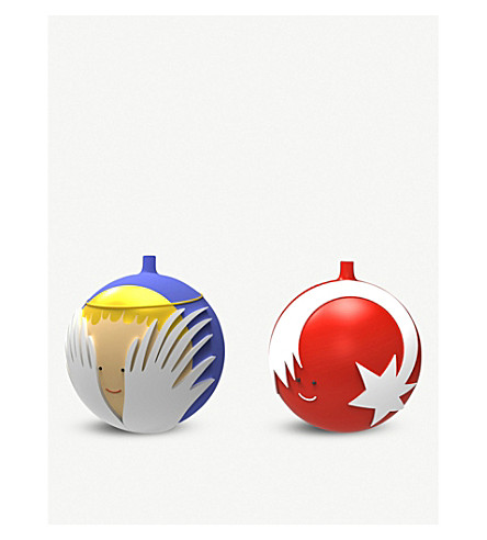 ALESSI Star and angel Christmas bauble set
