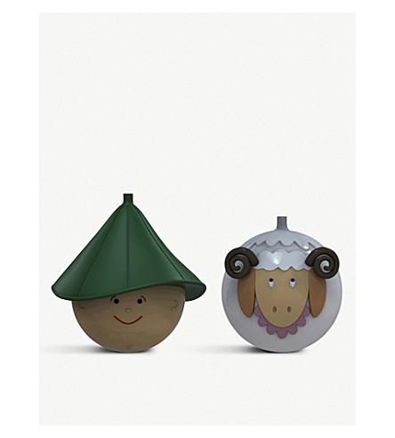 ALESSI Shepherd and sheep Christmas bauble set
