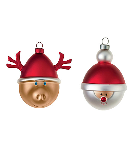 ALESSI Set of two christmas baubles (Nocolor