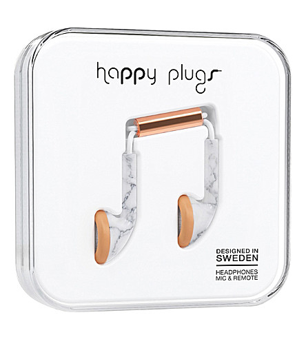 HAPPY PLUGS In-Ear Deluxe Edition headphones (White marble