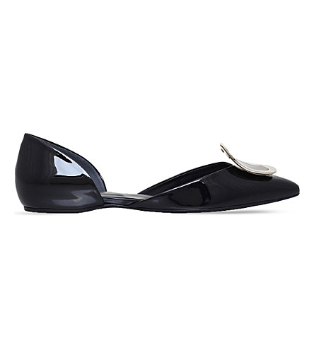 ROGER VIVIER Chips Strass patent-leather ballerina flats (Black