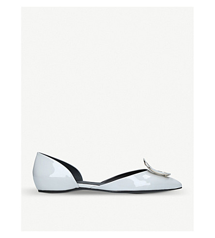 ROGER VIVIER D'Orsay Choc patent-leather ballerina flats (Grey/light