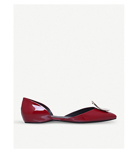 ROGER VIVIER Choc d'Orsay patent leather ballerina flats (Red