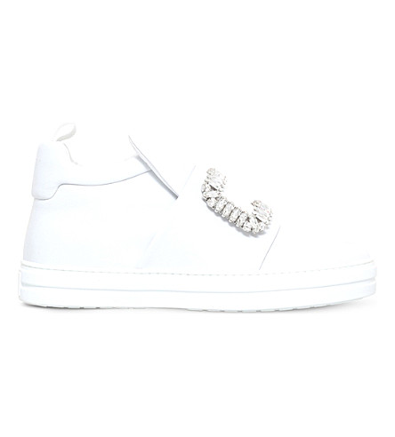 ROGER VIVIER Sneaky viv embellished leather trainers (White