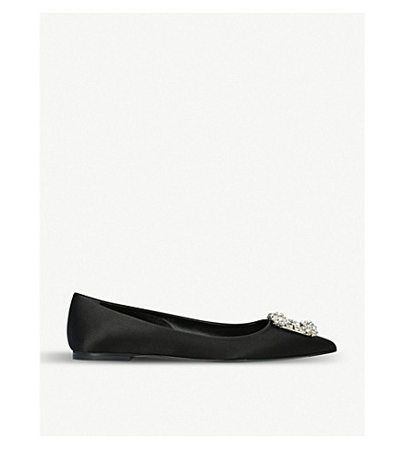 ROGER VIVIER Crystal-embellished satin ballerina slippers (Black