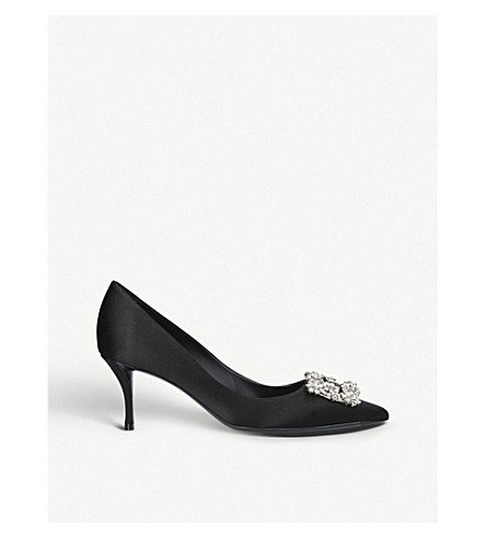 ROGER VIVIER Flower Strass crystal-embellished silk courts (Black