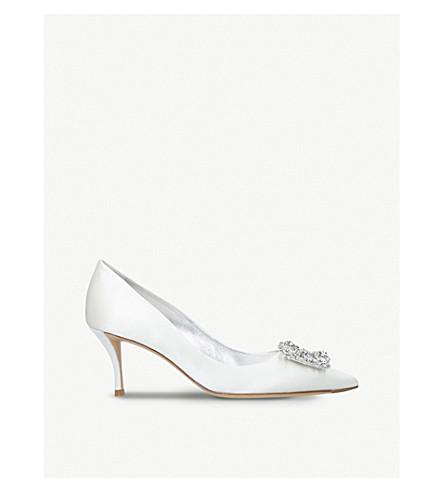 ROGER VIVIER Flower embellished satin court shoes (Winter+wht