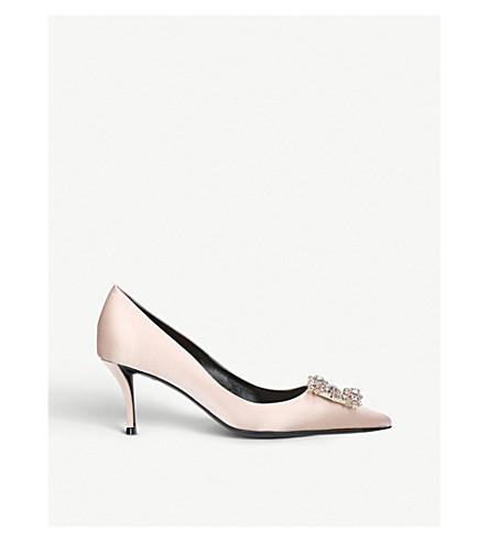 ROGER VIVIER Flower embellished satin court shoes (Nude