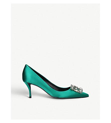 ROGER VIVIER Flower-embellished satin court shoes (Green