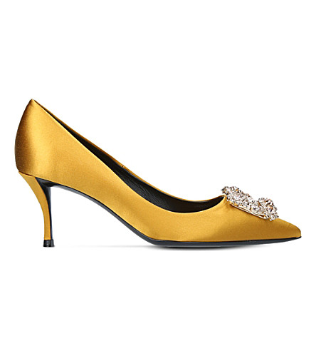 ROGER VIVIER Embellished satin court shoes (Mustard