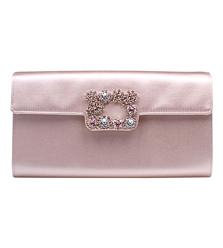 ROGER VIVIER Envelope Flowers silk-satin clutch bag (Pale+pink