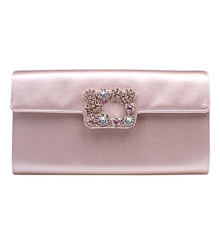 ROGER VIVIER Envelope Flowers silk-satin clutch bag (Pale+pink