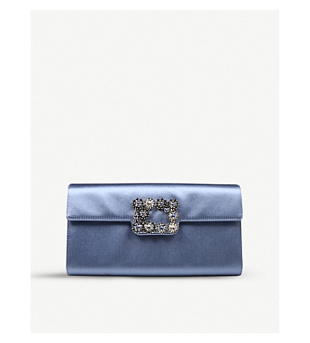 ROGER VIVIER Envelope Flowers silk-satin clutch bag (Pale+blue 5ed39256e4a82