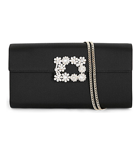 ROGER VIVIER Envelope Flowers silk-satin clutch bag (Black