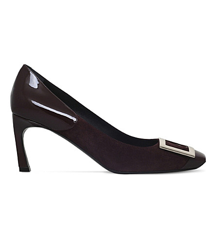 ROGER VIVIER Buckle suede and patent-leather courts (Wine