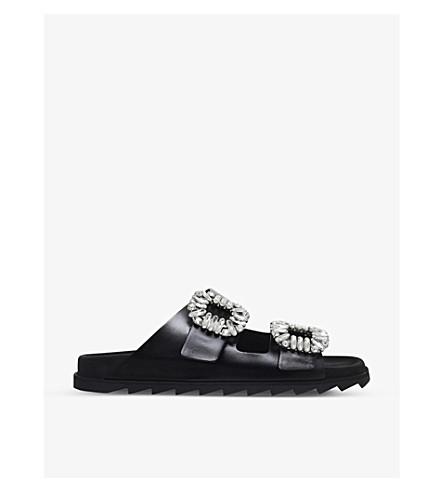 ROGER VIVIER Viv leather slider sandals (Black
