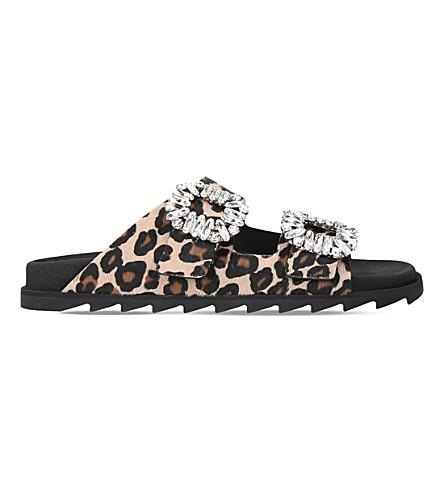 ROGER VIVIER Slidy Viv crystal-embellished pony-hair sandals (Beige+comb