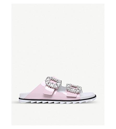 ROGER VIVIER Slidy Viv patent-leather slider sandals (Pale+pink