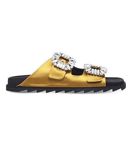 ROGER VIVIER Slidy Viv crystal-embellished metallic leather sandals (Mustard
