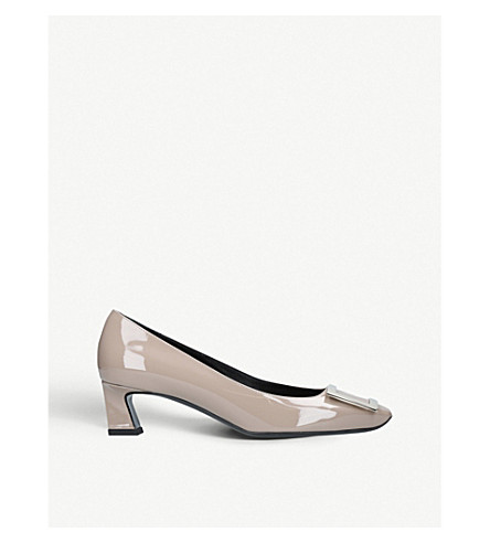 ROGER VIVIER Trompette patent leather pumps (Taupe