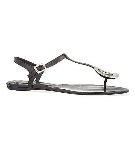 ROGER VIVIER Chips leather thong sandals (Black