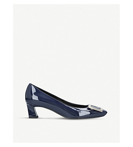 ROGER VIVIER Trompette patent leather pumps (Navy