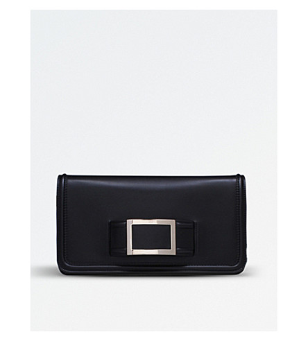 ROGER VIVIER Keep it Viv' leather envelope clutch (Black