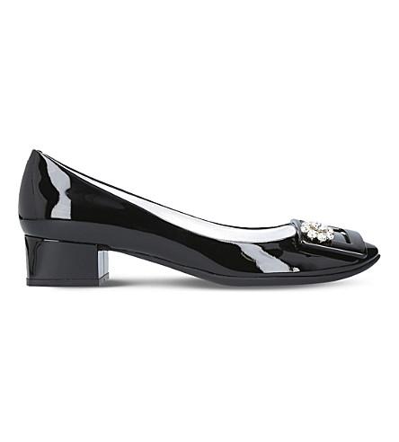 ROGER VIVIER Belle De Nuit 35 jewel-embellished patent-leather courts (Black