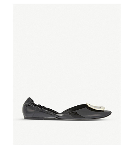 ROGER VIVIER Chips patent leather ballerina flats (Black