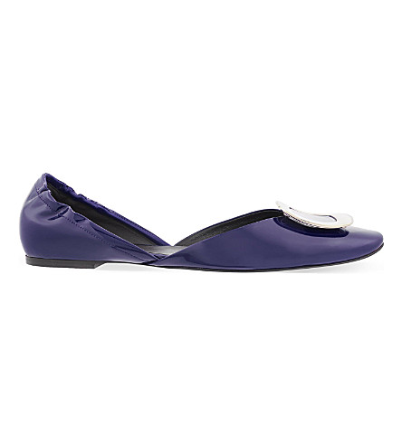 ROGER VIVIER Chips patent leather ballerina flats (Navy
