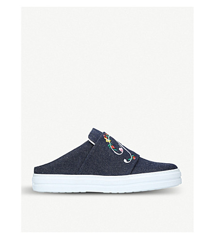 ROGER VIVIER Sneaky Viv embroidered denim trainers (Blue+other